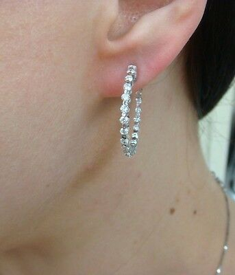 1.25 Ct Diamonds In And Out Hoop Earrings, 14K White Gold, Safety Lock