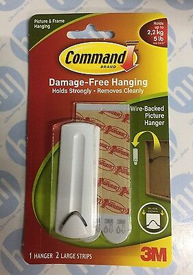 3M Command Wire Backed Picture Hanger Damage Free Hook Hold up to 2.2kg 17041