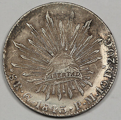 "Mexico 1843 Go PM ""CAP AND RAYS"" 8 Reales Silver Coin AU Very Nice"