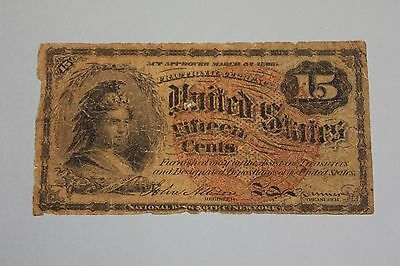 1863 Usa 15 Cents Banknote Currency Hole