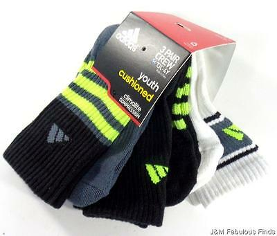 Adidas Youth 3 Pack Climalite Compression Crew Socks Size 13C 4Y Medium 3 Colors