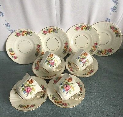 Old Royal China Made In England No 2998 4 Trios Vgc For Age