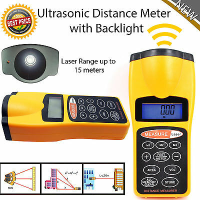 LCD Digital Laser Distance Meter Range Finder Measure Tape Ultrasonic Sensor UK