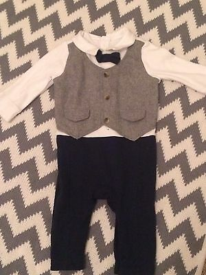 Baby Boys Mothercare Bow Tie Romper 3-6months