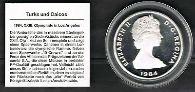 Turks and Caicos: 10 Cr,1984 Olympia Speerwerfer PP Silber Original-Kapsel[0213]