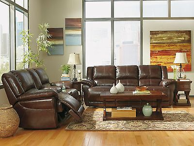 MERIDA - Brown Genuine Leather Powered Reclining Sofa Couch Set Living Room New