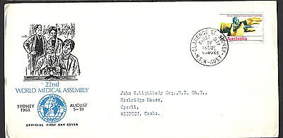 1968 Australia 22nd Medical Congress Air Mail FD Cover To UK
