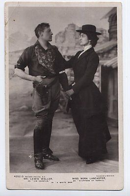 """Lewis Waller & Nora Lancaster in """"A White Man"""" actor vintage real photo Postcard"""