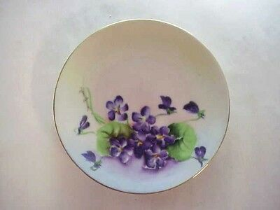 Antique Bavarian Hand Painted VIOLETS Plate - Artist Signed Emma Burst
