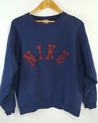 Vintage 90s Nike Crewneck Sweatshirt Embroidered Spellout Logo Size L