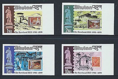 Bhutan Death Centenary Of Sir Rowland Hill,imperforate Set, Unmounted Mint
