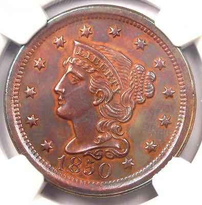 1850 Braided Hair Large Cent 1C - NGC Uncirculated Detail - Rare MS BU UNC Penny