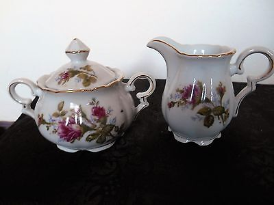 Beautiful 'Sealy' Vintage Porcelain Red Roses Lidded Sugar & Creamer ca. 1940