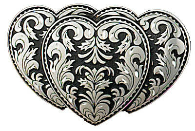 genuine 1995 solid pewter C&J gothic triple heart rock belt buckle skater