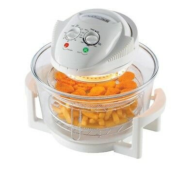 Ambiano 12L 1300W 2 In 1 Air Fryer Halogen Oven With Extender In White - Mt-A12B