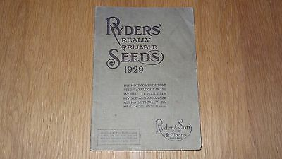 Ryders Really Reliable Seeds Catalogue, St Albans , 1929