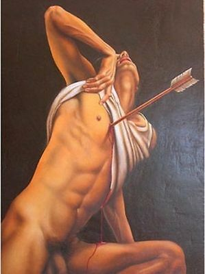 Beautiful Large Oil Painting On Art Canvas NUDE NAKED MEN Gay Male 24x36