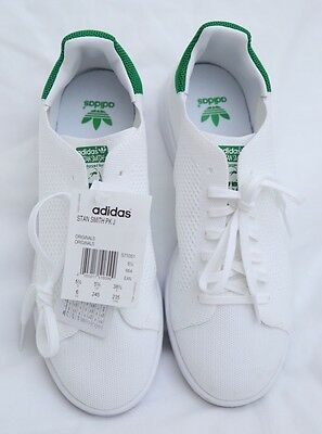 New Adidas Originals Og Prime Knit Pk Stan Smith White & Green Trainers Uk 5.5