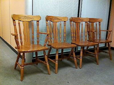 Set of 4 beech/pine dining chairs