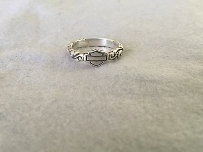 Harley Davidson Bar And Shield Women's Sterling Silver Band Size 6