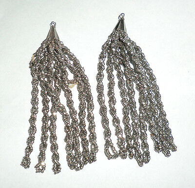 "Rare Antique Vintage French Silver Steel Cut Beaded Twisted Tassels 3"" Long"