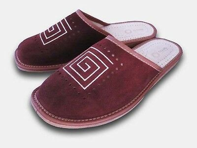 -Brand New Mens, Real Leather Slippers Size 9/43,-