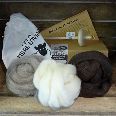Drop spindle spinning kit with NATURAL fibre / wool / roving and bag