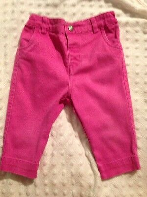 JoJo Maman Bebe Girls Pink Cropped Trousers Age 12-18 Months