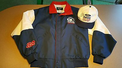 Vintage 90s Ford Quality Care Racing Signed Hat with Jacket NASCAR Dale Jarrett