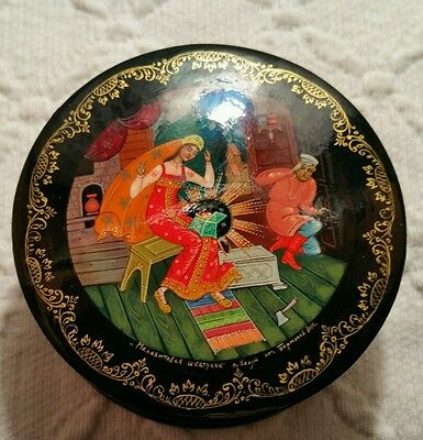 Vintage Round Russian Lacquer Box With Painted Miniature