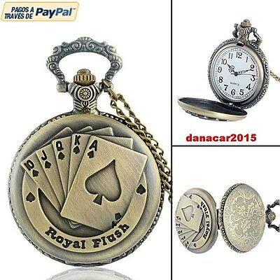 Reloj Colgante Poker De Bolsillo Bronce Watch (Baraja Cartas Cards Pokerstars)