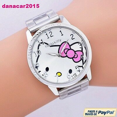 Reloj De Pulsera De Hello Kitty Correa Esfera De Acero Inoxidable Watch Rosa