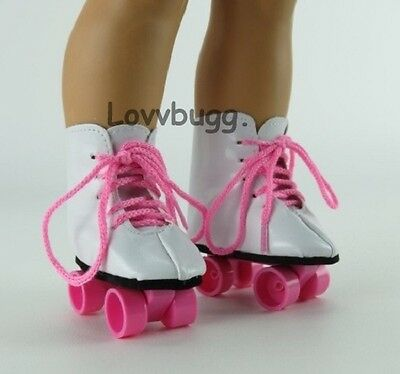 """Pink Roller Skates for 18"""" American Girl Doll Shoes Clothes Widest Selection"""
