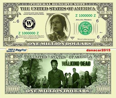 Billete Conmemorativo De Un Millon De Dolares The Walking Dead (Colgante Rick)