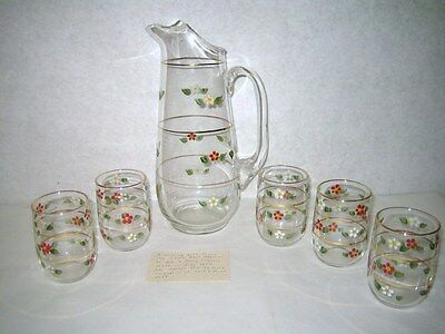 Antique Glass Pitcher Cocktail Juice Glass Set Hand Painted Gold Trim Ice Lip