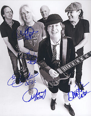 """AC/DC Hand Signed By Band """"Tour Promotional"""" Photo 10x8"""