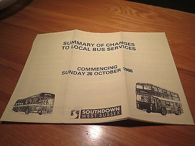 Southdown West Sussex Summary Of Changes Bus Guide Timetable Leaflets Map