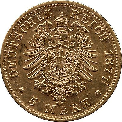 1877-F Wurttemberg Karl 5 Marks Gold coin German Empire Collections/ Bulk Lots