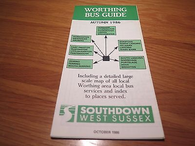 Southdown West Sussex Worthing Bus Guide Timetable Leaflets Map
