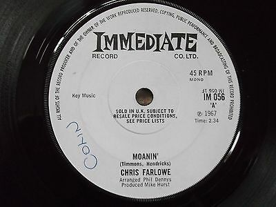 "CHRIS FARLOWE Moanin` / What Have I Been Doing 7"" SINGLE 1967 London BLUES / POP"