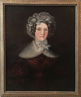 Early 19th c, Antique Oil Painting Portrait Of A Lady