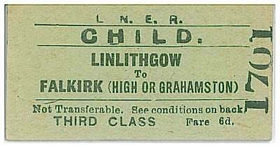 LNER Railway Train Ticket 1701 LINLITHGOW to FALKIRK (HIGH or GRAHAMSTON 02JLY64