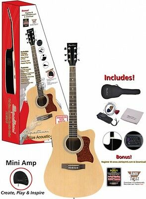 """Spectrum 41"""" Full Size Cutaway Acoustic Electric Guitar with Mini Amp Strap NEW"""