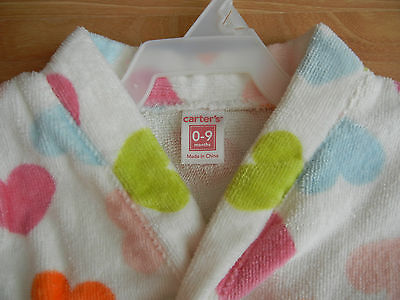 NEW! Carter's  Baby Girl's Robe, Bright Hearts, Size 0-9 MONTHS