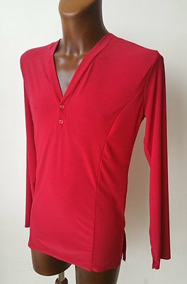 Mens Stretchy V-Neck Dance Practice Shirt For Salsa, Tango, Latin. Red