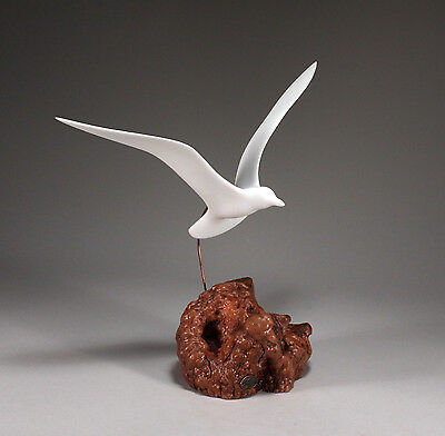 Seagull Figurine New direct JOHN PERRY WING UP Statue Sculpture on Wood