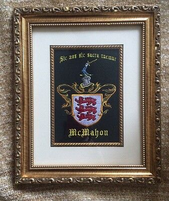 McMahon Family Crest Framed Embroidered Great Condition! Coat of Arms