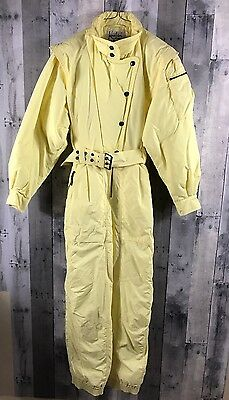 Vintage 80s Kaelin ONESIE SKI SUIT Neon Yellow Romper 1 One-Piece Snow Sz 10