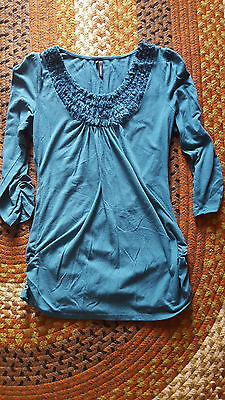 Maurices womens maternity top, 3/4 sleeve, teal blue, medium, GUC