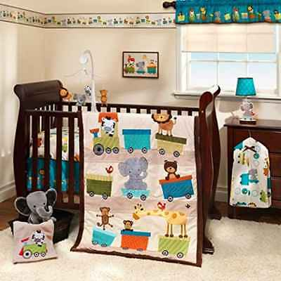 Baby Bedding Crib Sets For Boys Nursery Brown Comforter Animal Bedtime Sleep